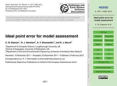 Ideal Point Error for Model Assessment :... by Dawson, C. W.