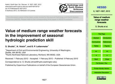 Value of Medium Range Weather Forecasts ... by Shukla, S.