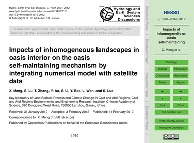 Impacts of Inhomogeneous Landscapes in O... by Meng, X.