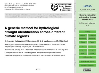 A Generic Method for Hydrological Drough... by Van Huijgevoort, M. H. J.