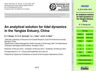 An Analytical Solution for Tidal Dynamic... by Zhang, E. F.