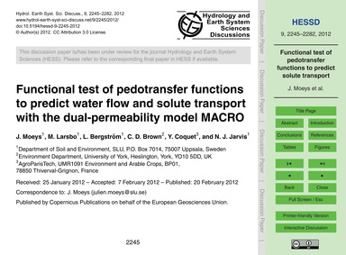 Functional Test of Pedotransfer Function... by Moeys, J.