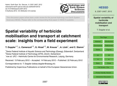 Spatial Variability of Herbicide Mobilis... by Doppler, T.