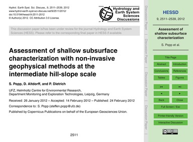 Assessment of Shallow Subsurface Charact... by Popp, S.