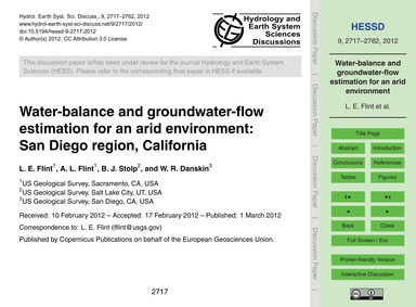 Water-balance and Groundwater-flow Estim... by Flint, L. E.