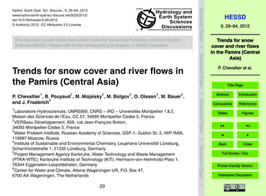 Trends for Snow Cover and River Flows in... by Chevallier, P.