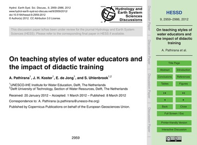 On Teaching Styles of Water Educators an... by Pathirana, A.