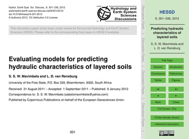 Evaluating Models for Predicting Hydraul... by Mavimbela, S. S. W.