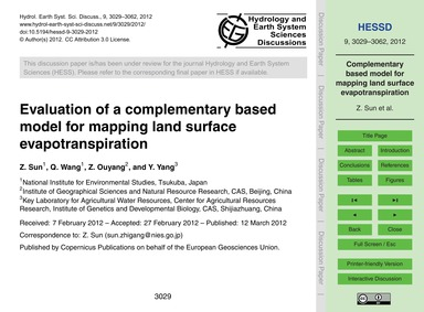 Evaluation of a Complementary Based Mode... by Sun, Z.