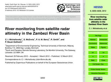 River Monitoring from Satellite Radar Al... by Michailovsky, C. I.