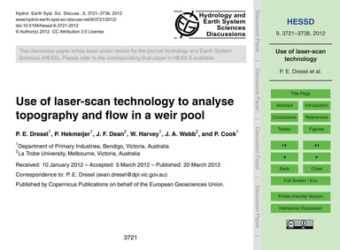 Use of Laser-scan Technology to Analyse ... by Dresel, P. E.
