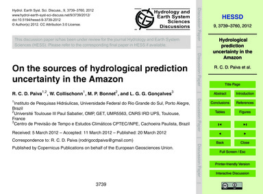 On the Sources of Hydrological Predictio... by Paiva, R. C. D.