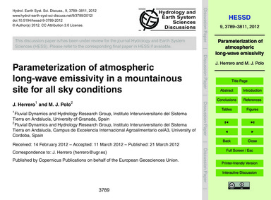 Parameterization of Atmospheric Long-wav... by Herrero, J.