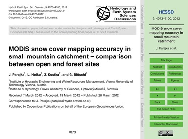 Modis Snow Cover Mapping Accuracy in Sma... by Parajka, J.