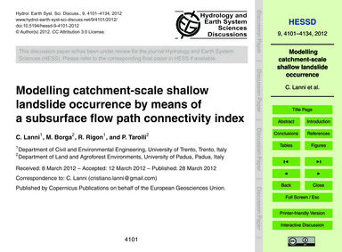 Modelling Catchment-scale Shallow Landsl... by Lanni, C.