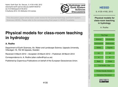 Physical Models for Class-room Teaching ... by Rodhe, A.