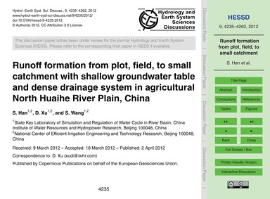 Runoff Formation from Plot, Field, to Sm... by Han, S.