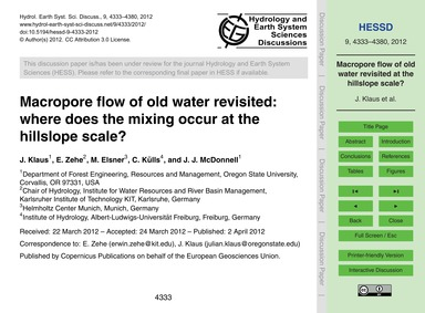 MacRopore Flow of Old Water Revisited: W... by Klaus, J.