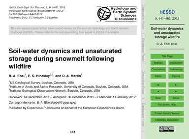 Soil-water Dynamics and Unsaturated Stor... by Ebel, B. A.