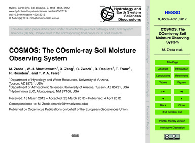 Cosmos: the Cosmic-ray Soil Moisture Obs... by Zreda, M.