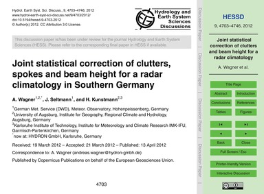 Joint Statistical Correction of Clutters... by Wagner, A.