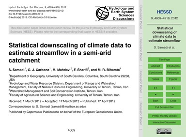 Statistical Downscaling of Climate Data ... by Samadi, S.