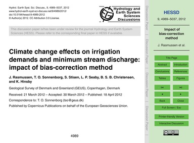 Climate Change Effects on Irrigation Dem... by Rasmussen, J.