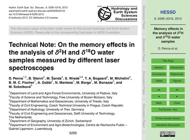 Technical Note: on the Memory Effects in... by Penna, D.