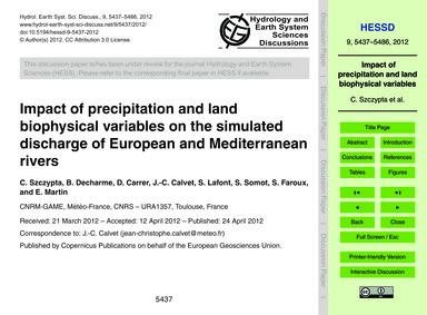 Impact of Precipitation and Land Biophys... by Szczypta, C.