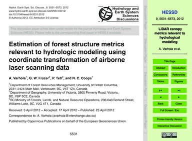 Estimation of Forest Structure Metrics R... by Varhola, A.