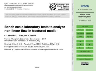 Bench Scale Laboratory Tests to Analyze ... by Cherubini, C.