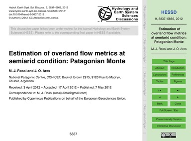 Estimation of Overland Flow Metrics at S... by Rossi, M. J.