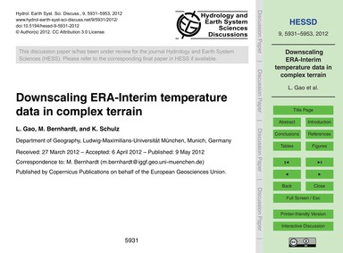 Downscaling Era-interim Temperature Data... by Gao, L.