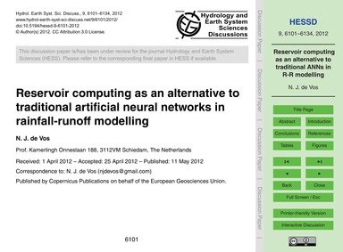 Reservoir Computing as an Alternative to... by De Vos, N. J.