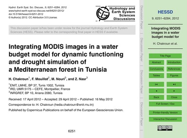 Integrating Modis Images in a Water Budg... by Chakroun, H.