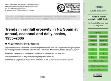 Trends in Rainfall Erosivity in NE Spain... by Angulo-martínez, M.