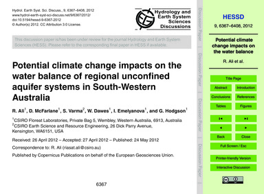 Potential Climate Change Impacts on the ... by Ali, R.
