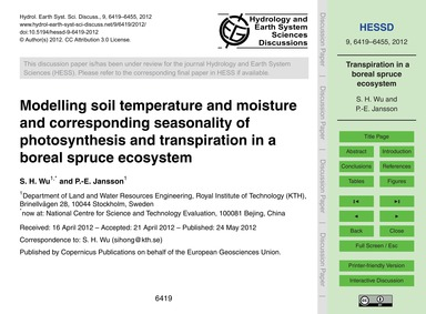 Modelling Soil Temperature and Moisture ... by Wu, S. H.