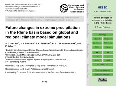 Future Changes in Extreme Precipitation ... by Van Pelt, S. C.