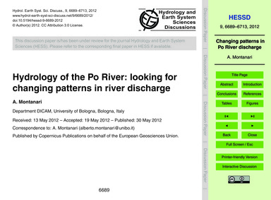 Hydrology of the PO River: Looking for C... by Montanari, A.