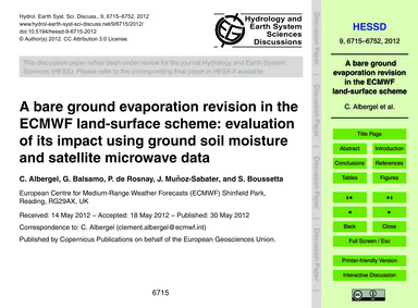 A Bare Ground Evaporation Revision in th... by Albergel, C.