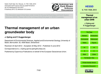 Thermal Management of an Urban Groundwat... by Epting, J.