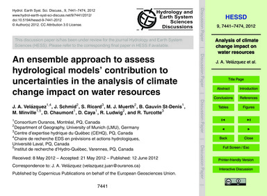 An Ensemble Approach to Assess Hydrologi... by Velázquez, J. A.
