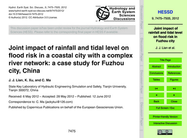 Joint Impact of Rainfall and Tidal Level... by Lian, J. J.