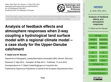 Analysis of Feedback Effects and Atmosph... by Zabel, F.
