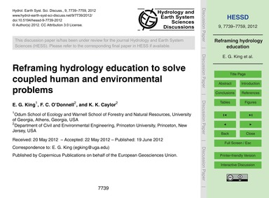Reframing Hydrology Education to Solve C... by King, E. G.