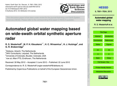 Automated Global Water Mapping Based on ... by Westerhoff, R. S.