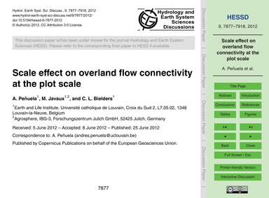 Scale Effect on Overland Flow Connectivi... by Peñuela, A.