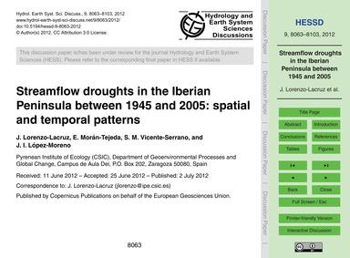 Streamflow Droughts in the Iberian Penin... by Lorenzo-lacruz, J.