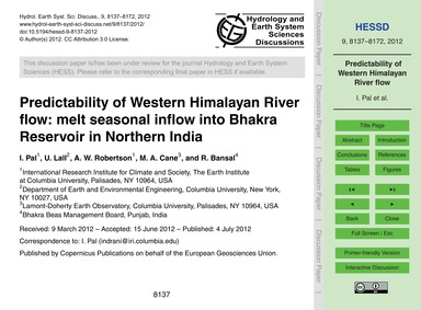 Predictability of Western Himalayan Rive... by Pal, I.